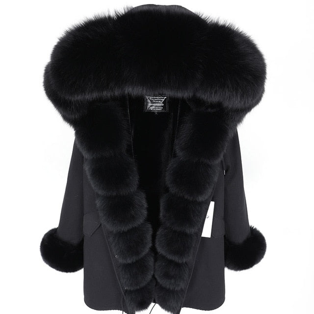 BLACK FUR BLACK PARKA