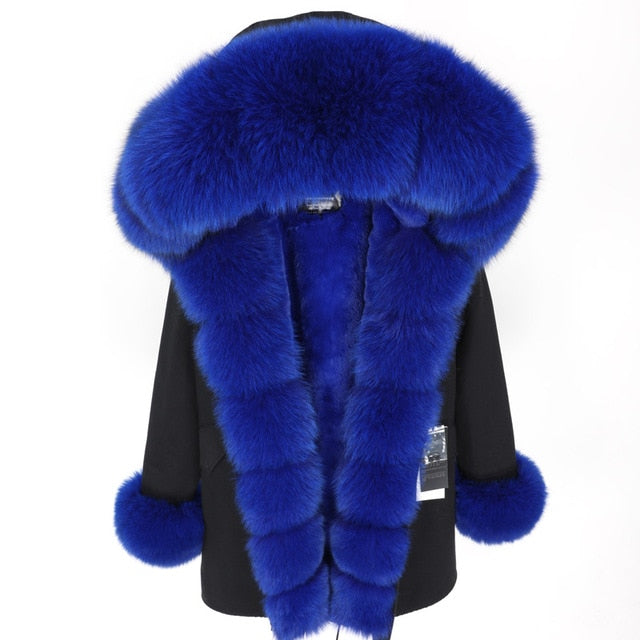 BLUE FUR BLACK PARKA