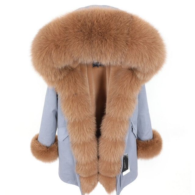 BROWN FUR GRAY PARKA