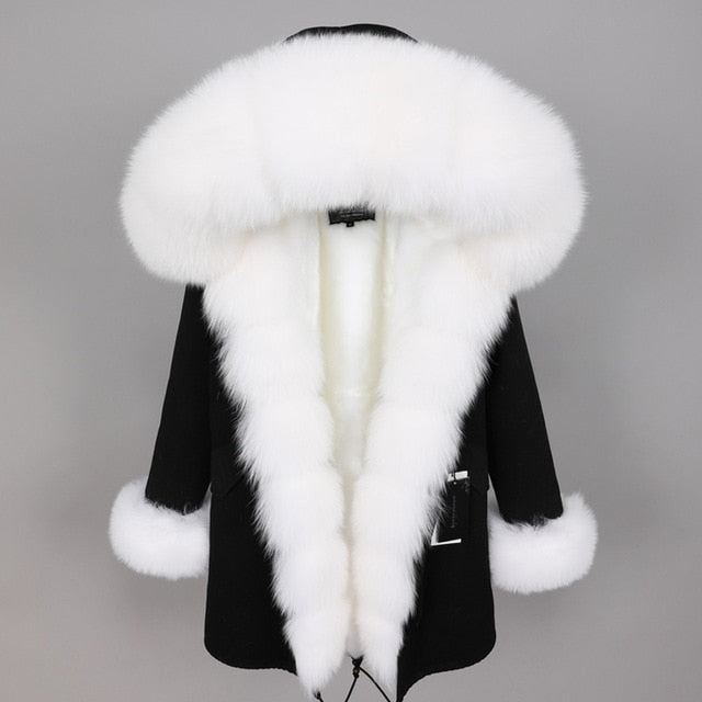 WHITE FUR BLACK PARKA