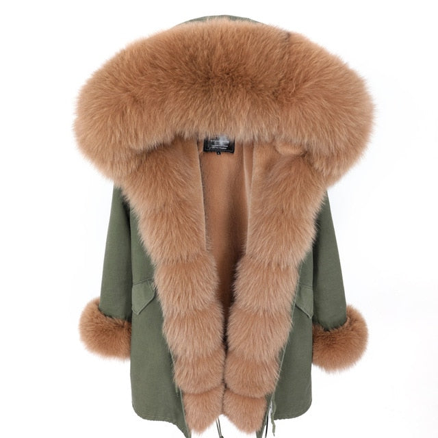 BROWN FUR GREEN PARKA