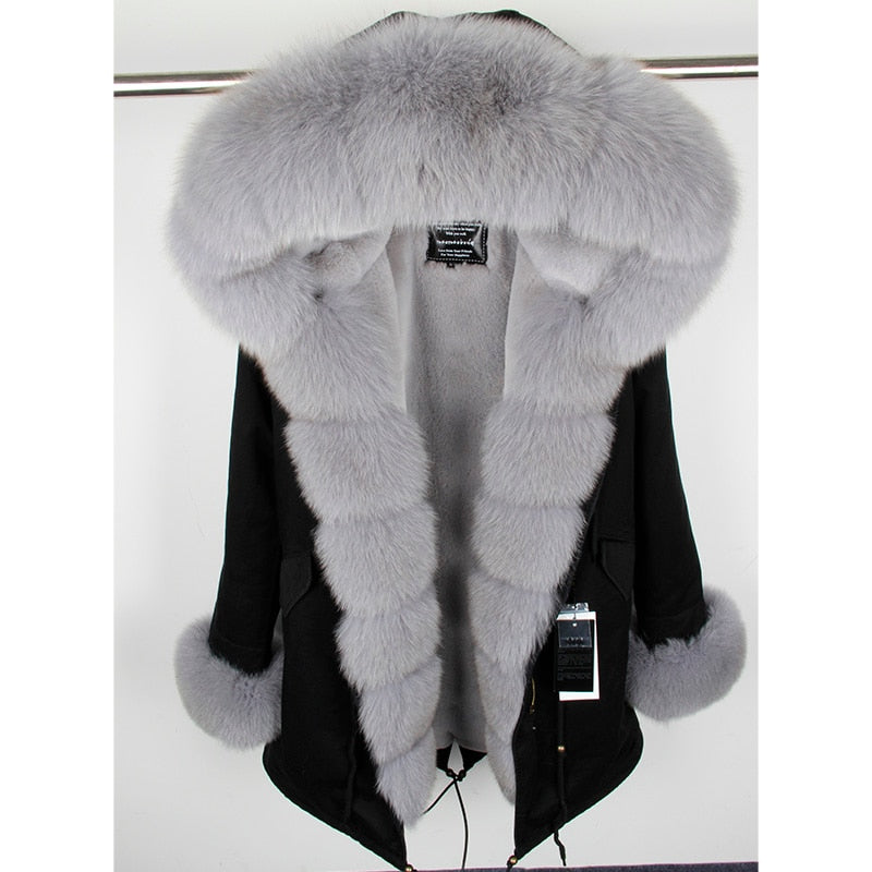 GRAY FUR BLACK PARKA