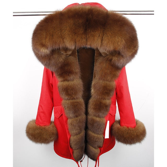 BROWN FUR RED PARKA