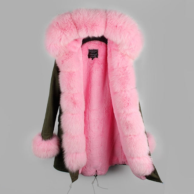 PINK FUR GREEN PARKA