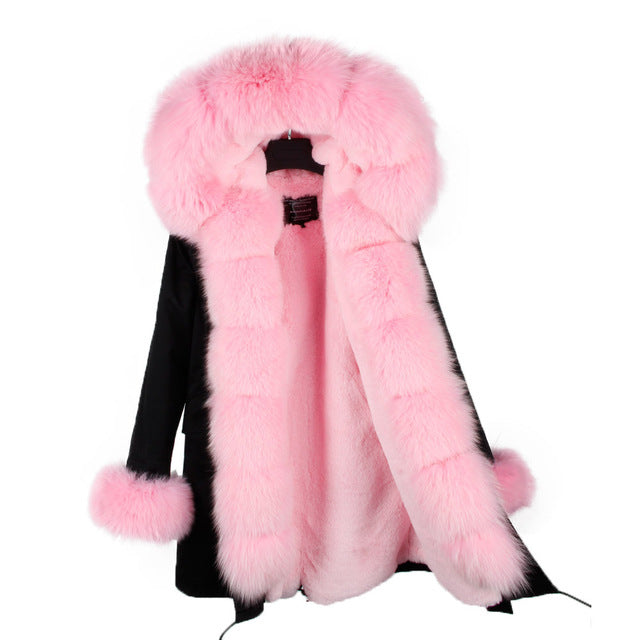 PINK FUR BLACK PARKA