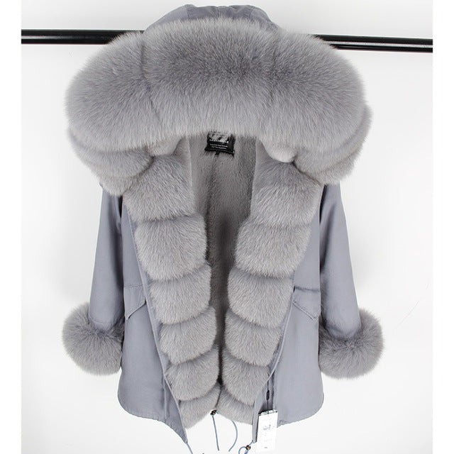 GRAY FUR GRAY PARKA