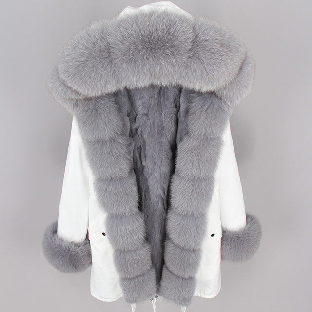 GRAY FUR WHITE PARKA