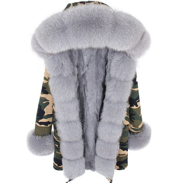 GRAY FUR CAMO PARKA