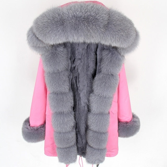 GRAY FUR PINK PARKA