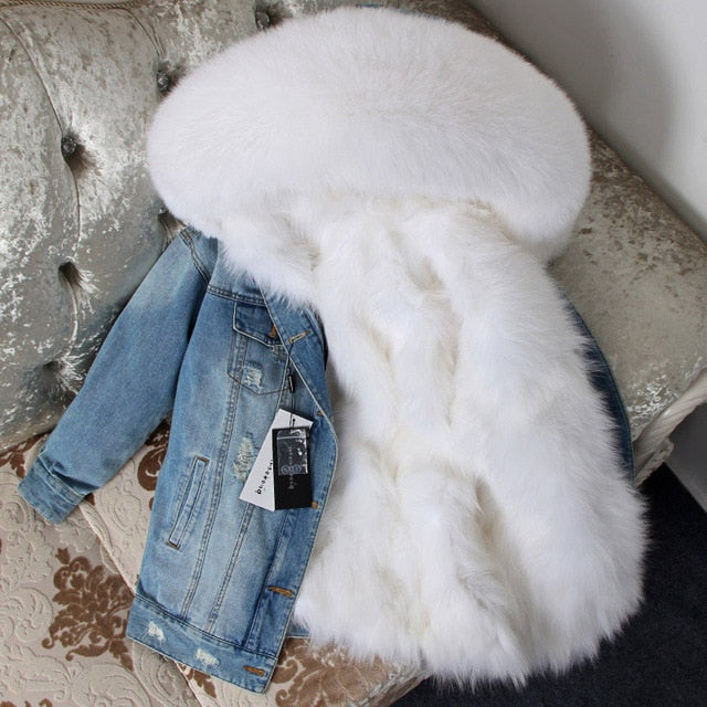 WHITE FUR DENIM