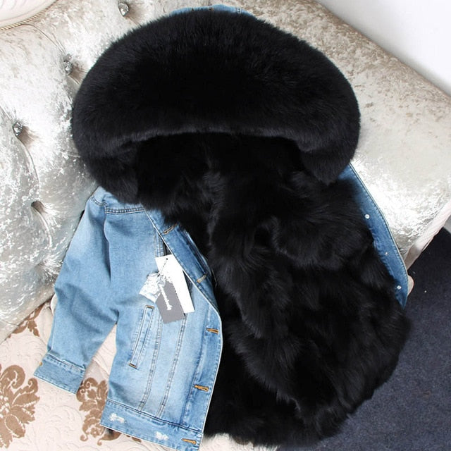 BLACK FUR DENIM