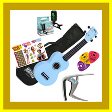 "Load image into Gallery viewer, Woody's Ukulele Bundle 3 - ""Gold Bundle"""