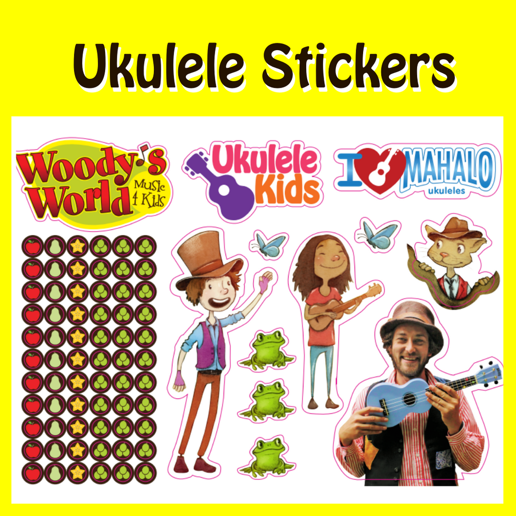 Woody's Ukulele Sticker Sheets
