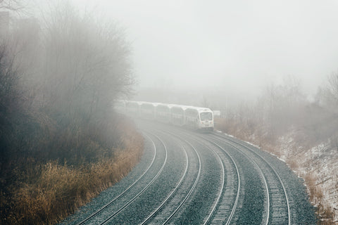Train turning into fog