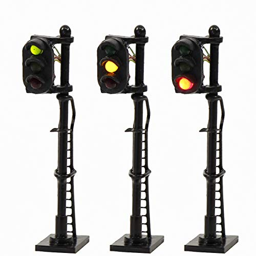 JTD1508GYR 3PCS Model Railroad Train Signals 3-Lights Block Signal N Scale 12V Green-Yellow-Red Traffic Lights for Train Layout New