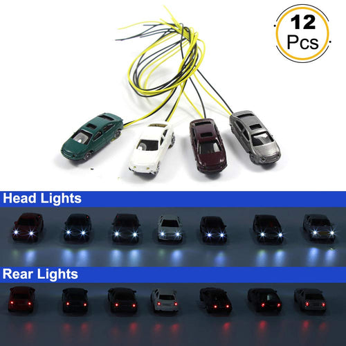 EC150 12pcs 1:150 N Scale Model Lighted Cars (Color Random) with 12V LEDs for Building Layout New