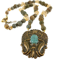 Egyptian Revival Faience Scarab Pendant Bead Single Strand Necklace Gemstones Jasper Citrine Vintage African Brass Beads 57 Grams 20 Inches Long