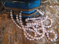 Cultured Freshwater Pearl Single Strand Necklace 200 Hand Knotted 8 mm Near Round Pearls Multi-Colored: White, Pink, Peach, Lavender 72 Inches Long