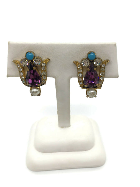 Fleur de Lis Colorful Rhinestone Clip on Earrings Gold Faux Amethyst Turquoise Pearl 1 Inch Wide and Long
