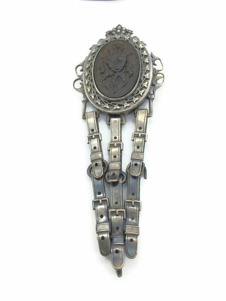 Victorian Gutta Percha Brooch Pansy Oval Plaque Bezel Set Silver Oak Leaf Frame with Articulated Belt Buckle Chatelaine Dangle 4 Inches Long