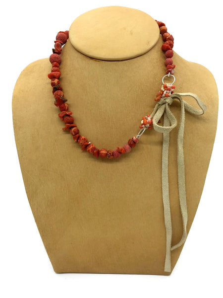 Red Coral Bead Necklace with Leather Closure Round Sponge Coral 12 mm to 7 mm 16 Inches Long 12 Inches Long Leather Tie Closure