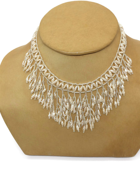 Biwa Pearls and Crystal Fringe Necklace Handmade Beadwork Cultured Freshwater Pearls 15 Inches with 2 Inches Extender