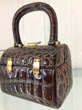 Vintage Domed Box Handbag 4 Inches Top Handles Brown Crocodile Skin Gold Hardware Nieri Argenti Handmade Florence Italy 6 1/2 Inches Long 5 Inches High