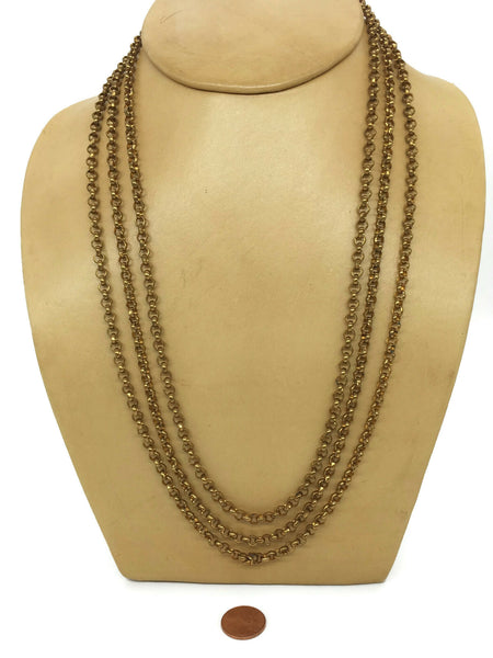Vintage Rolo 3-Strand Chain Necklace Gold Plated Base Metal