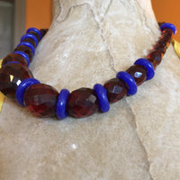 Bakelite Cherry Amber Beads Single Strand Choker Necklace Vintage Dutch Cobalt Blue Donut Shaped Dogon Trade Beads Sterling Silver Toggle Clasp 46.3 Grams 19 Inches Long