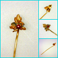 Vintage Maple Leaf Stick Pin Engraved Two-Tone Gold Textured Metal 2 mm Round Red Glass Stone 0.8 Grams 2 Inches Long