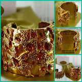 Vintage Givenchy Logo Cuff Bracelet Gold Plated Yellow Gripoix Crystals 1987 2 3/4 Inches Wide 7 1/8 Inches Long