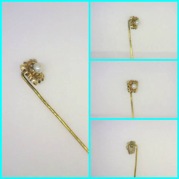 Vintage 14 Karat Gold  Pearl Stick Pin Scalloped Edged Plaque Engraved Bezel Set 4 mm Cultured Saltwater Pearl 1.3 Grams 1 7/8 Inches Long