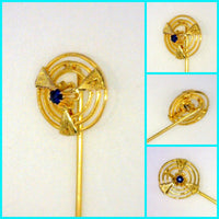Vintage 10 Karat Yellow Gold Blue Sapphire Stick Pin Pierced Engraved Framed Genuine 2 mm Round Gemstone 1.3 Grams 2 7/8 Inches Long