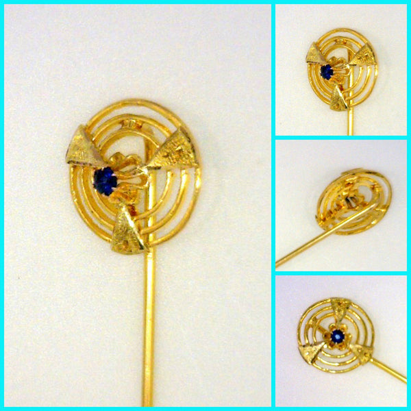 Art Deco Blue Sapphire Stick Pin 10 Karat Yellow Gold Pierced Engraved Framed Genuine 2 mm Round 1.3 Grams 2 7/8 Inches Long