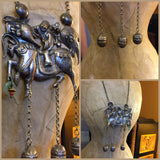 Vintage Dragon Head Chain Necklace Unicorn Horn 3 Inches Long Dangle Bell Charms Silver Rollo Chain 78.5 Grams 29 Inches Long