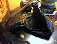 Black Satin Pouch Handbag with Wrist Style Handle, Gold Metal Accents 1930's