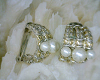 Two Tone Metal and White Pearl Half Hoop Clip-On Earrings Gold Silver 20 mm Wide 22 mm Long