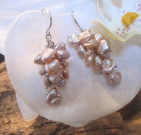 Cultured Freshwater Pearl Cluster Dangle Earrings Peach Pink Silvery Grey Sterling Silver 1 3/4 Inches Long