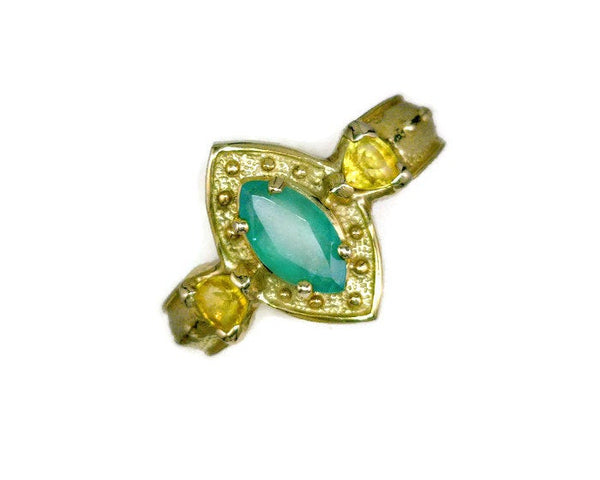Emerald 14 Karat Gold Three Stone Ring Marquise-Cut 0.70 Carat Flanked by Trillion-Cut Yellow Sapphires 3 mm x 3 mm x 3 mm 5.5 Grams Size 6.75