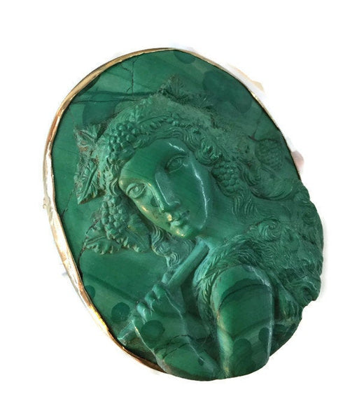 Antique Malachite Bacchus Cameo 10 Karat Rose Gold Bezel Frame Hand-Carved Pin High Relief Original Pin Closure 58.4 Grams 2 3/8 Inches Long
