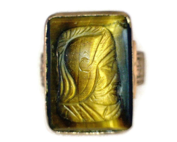Tiger Eye Cameo Ring Antique 10 Karat Rose Gold Classic Roman Soldier Profile 6 mm Thick 13 mm Wide 17 mm Long Size 4 1/2