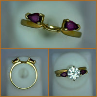 Vintage Wedding Shadow Band 14 Karat Yellow Gold Half Round 1.5 mm Thick 2 Synthetic Marquise Cut 5.5 mm Rubies 2.6 Grams Size 7 or 17.334 mm