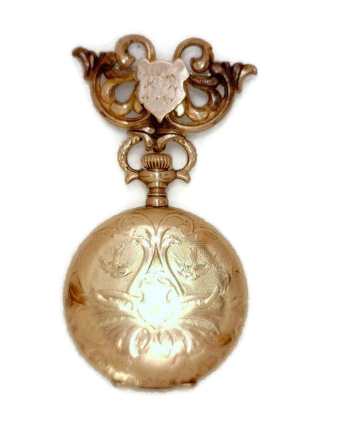 Gold Filled Waltham 1902 Pocket Watch with Chatelaine Pin Celebrity Owner Actress Kathy Bates 1.37 Inches Wide 2.76 Inches Long