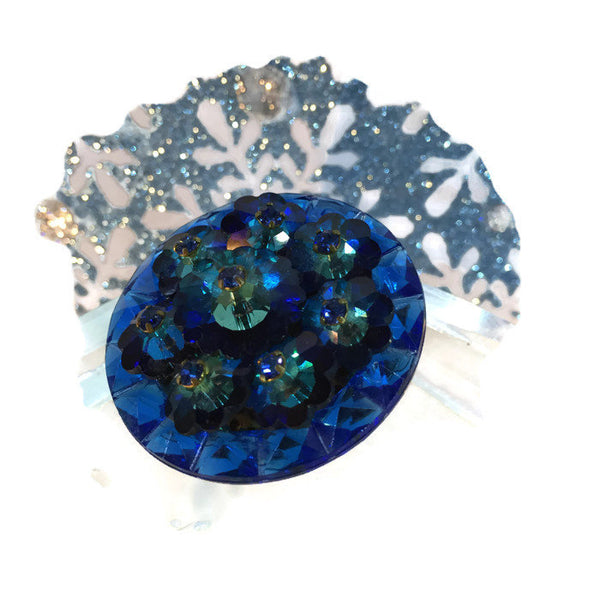 Blue Crystal Flower Pin with Channel Set Square Cut Glass Stones 3-D Flowers 1 1/2 Inches Round