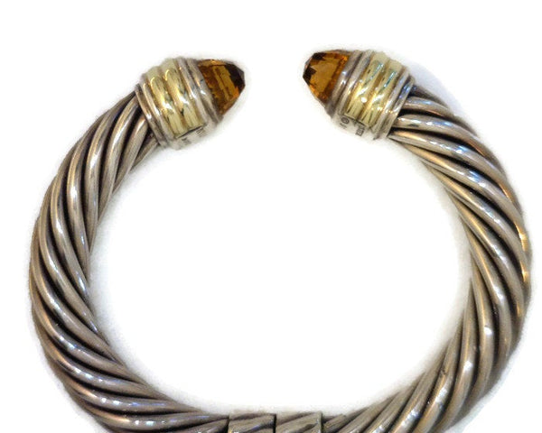David Yurman Classic Cable Cuff Hinged Bracelet 10 mm Wide Sterling Silver 14 Karat Yellow Gold Citrine Gemstones Size Medium Celebrity Owner Kathy Bates