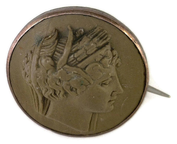 Vintage Ceres Green Lava Cameo Pin Greek Goddess High Relief 3/4 Inches Round