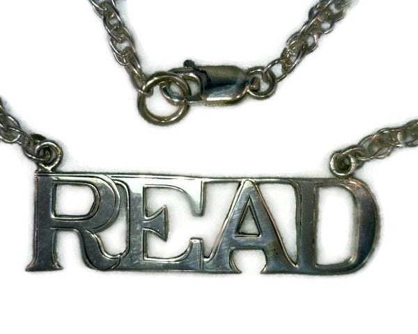 "Monogram ""READ"" Necklace Sterling Silver Twisted Rope Chain 1 1/2 Inches Long 1/2 Inch Wide 1 mm Thick 6.4 Grams 17 Inches Long"