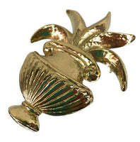 Vintage Givenchy Gold Brooch Signed Bold Urn with Fronds 2 Inches Wide 3 Inches Long