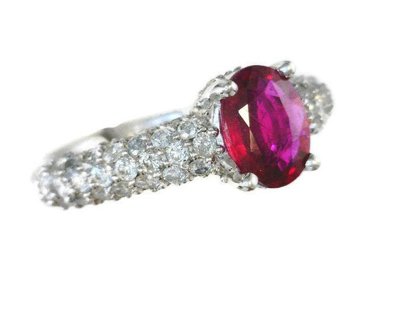Ruby Diamond Ring 14 Karat White Gold Prong-Set Oval Ruby 8 mm x 6 mm 0.70 Carat 80 Pave-Set 1.5 mm Round Diamonds 1.04 CTW Shank 4.5 mm Thick Size 6