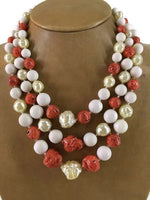Mid Century Japanese Glass Baroque Pearl and Faux Coral 3-Strand Bead Necklace 15-18 mm 95 Grams 16 Inches Long